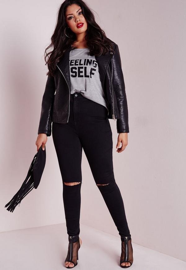 летние черные джинсы для полных