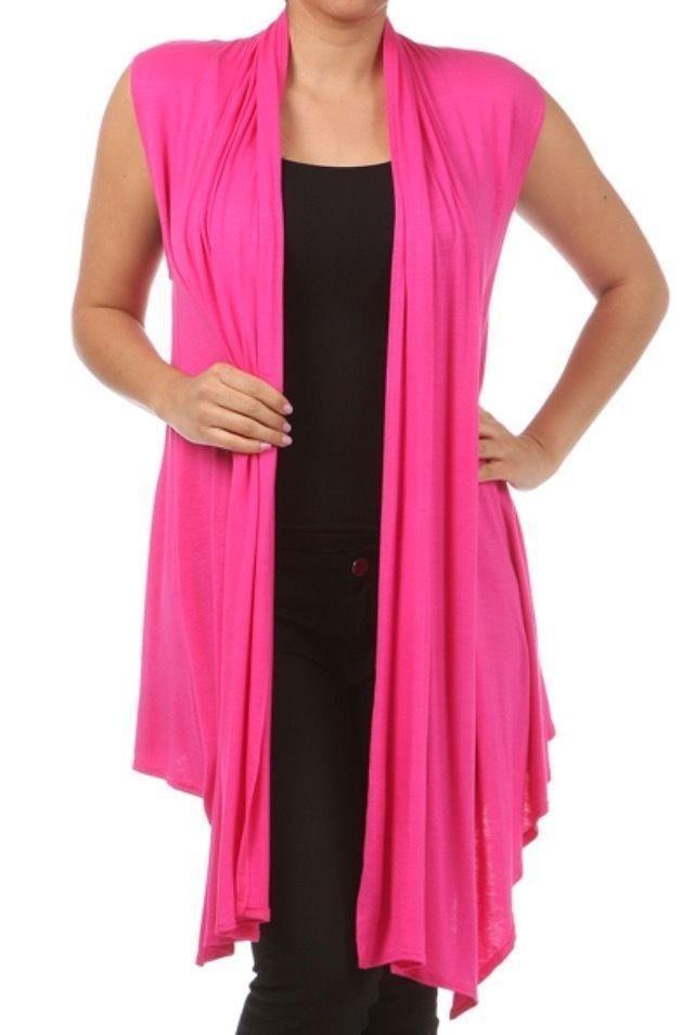 летний удлиненный розовый жилет для полных