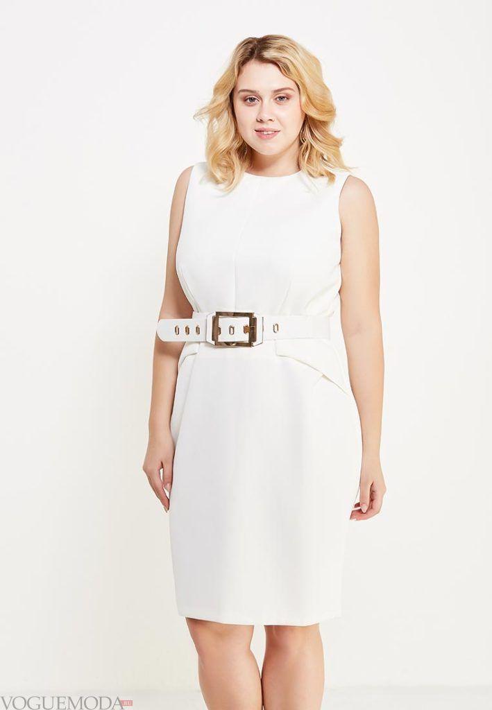 летнее платье с поясом для полных