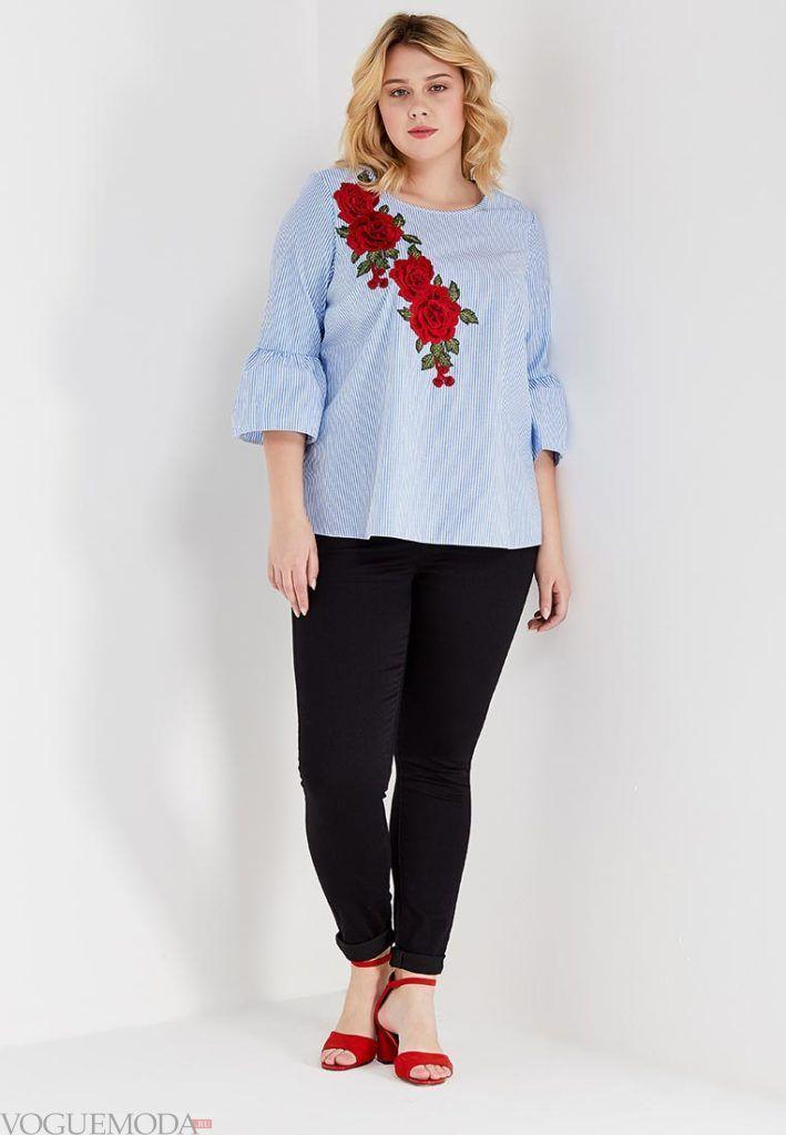 летняя блуза с вышивкой для полных