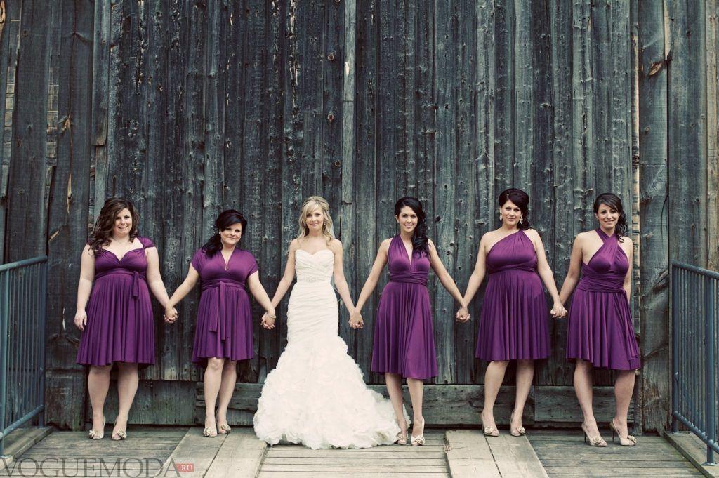 летнее фиолетовое платье-трансформер для полных