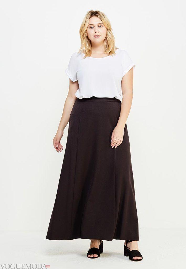 летняя длинная юбка для полных