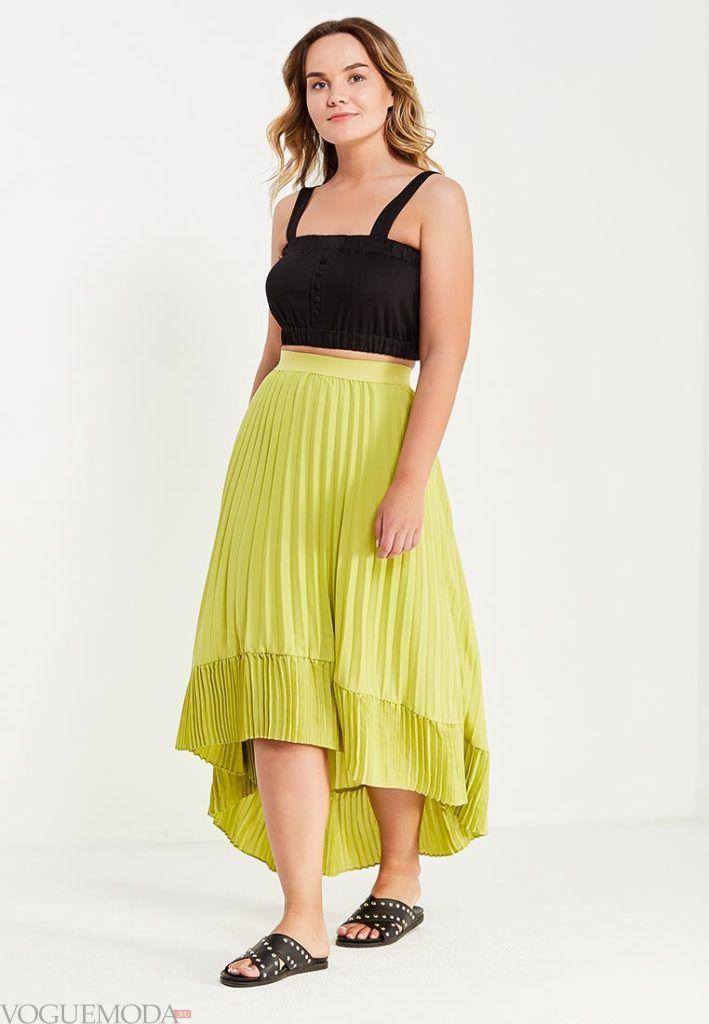 летняя юбка плиссе для полных