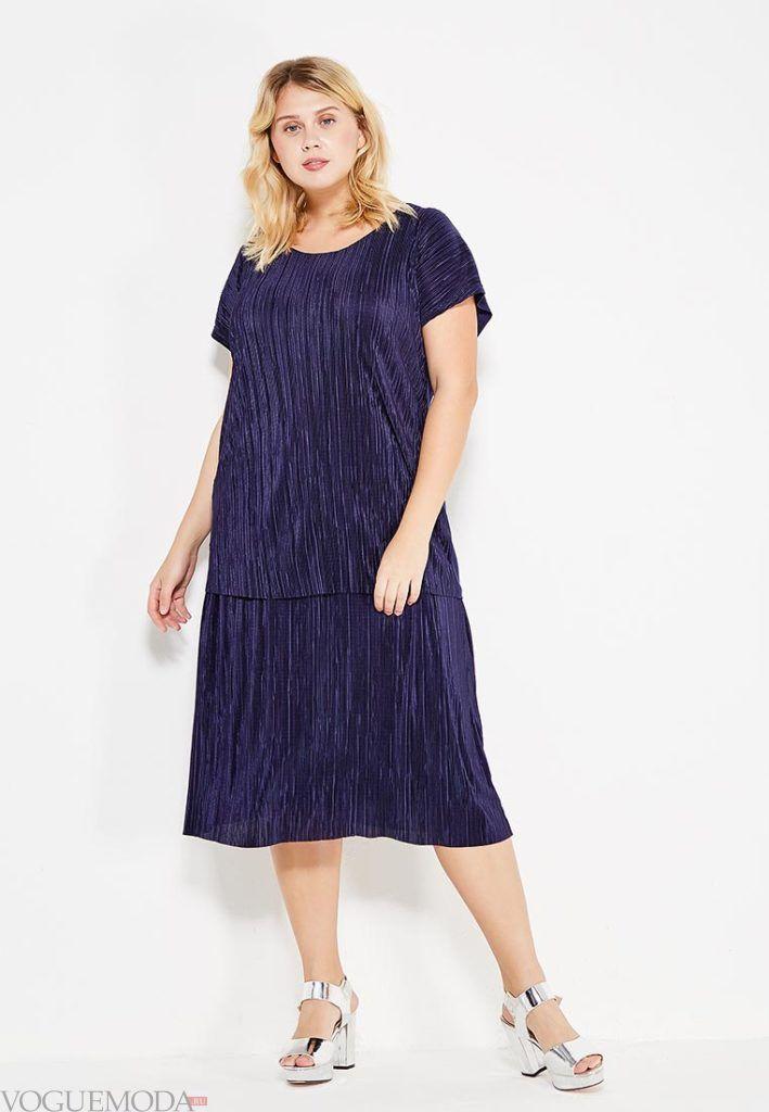 летнее синее платье для полных