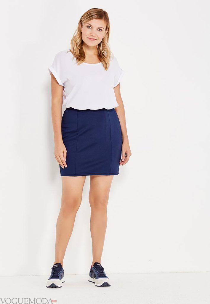 летняя синяя юбка мини для полных