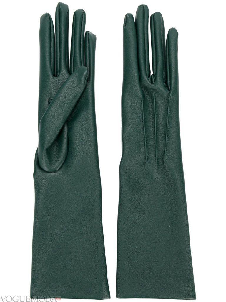длинные перчатки зеленые