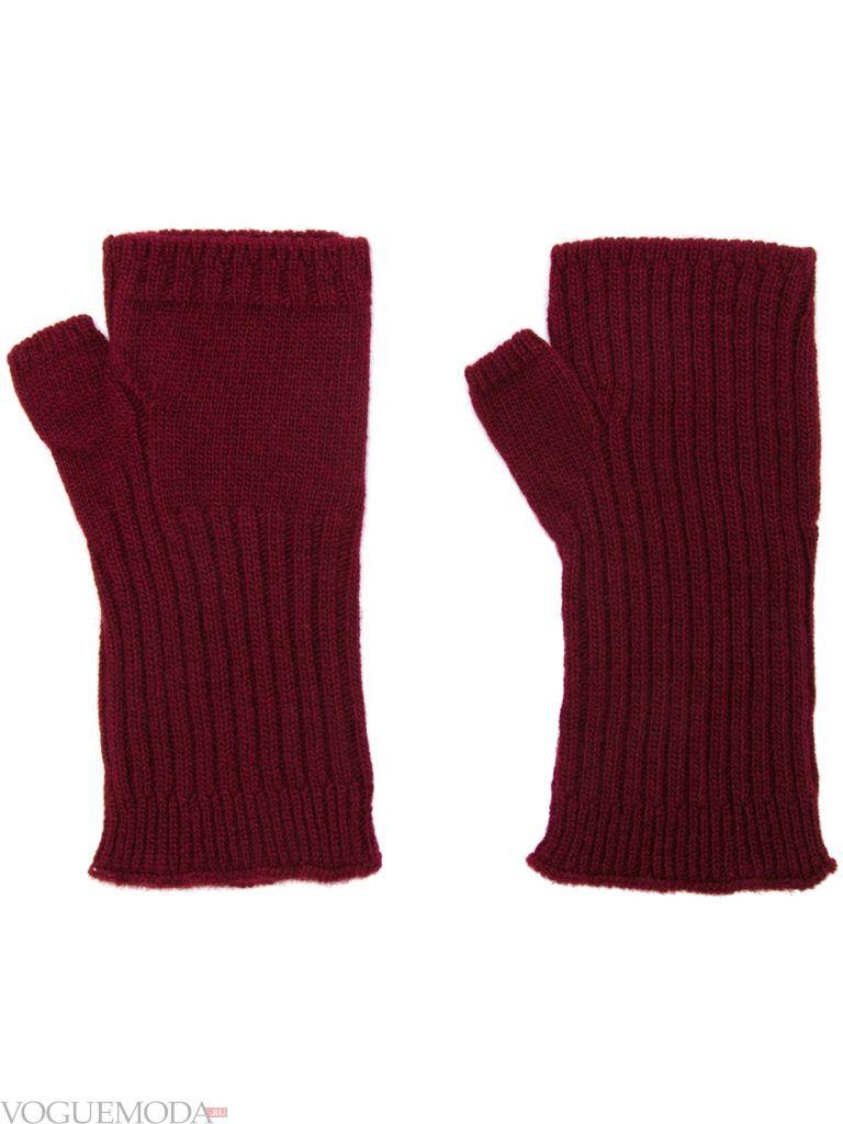 перчатки без пальцев бордовые