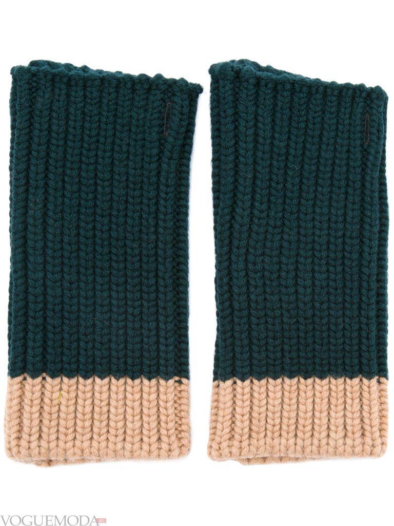 перчатки без пальцев двухцветные