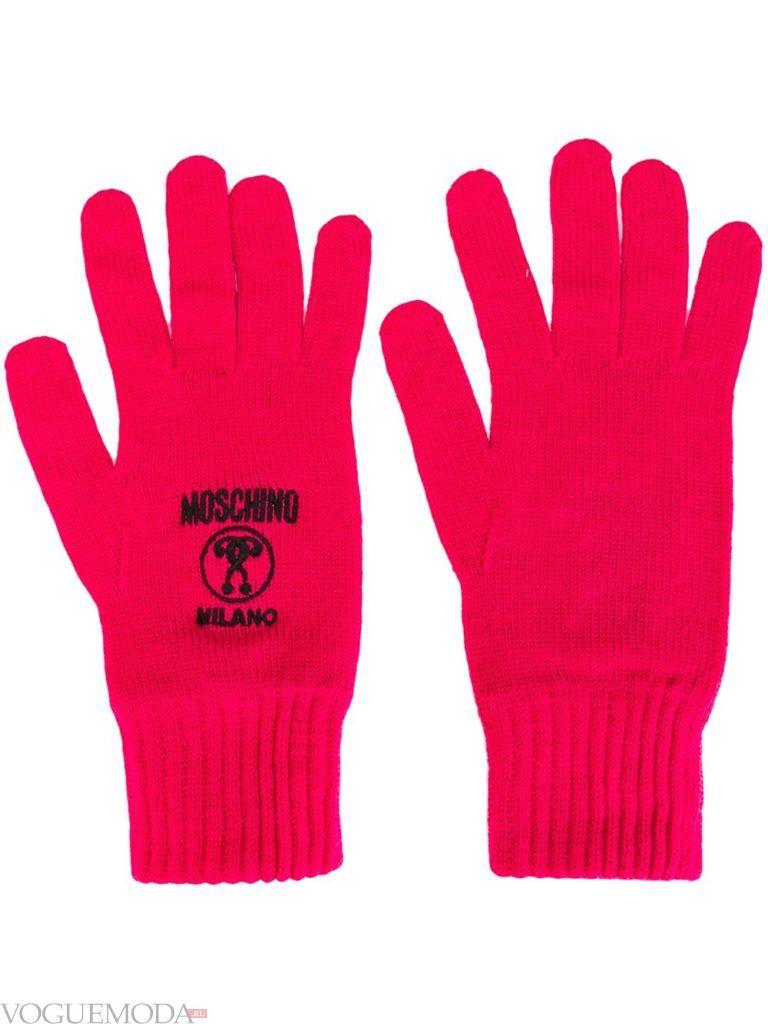 вязаные трикотажные перчатки розовые