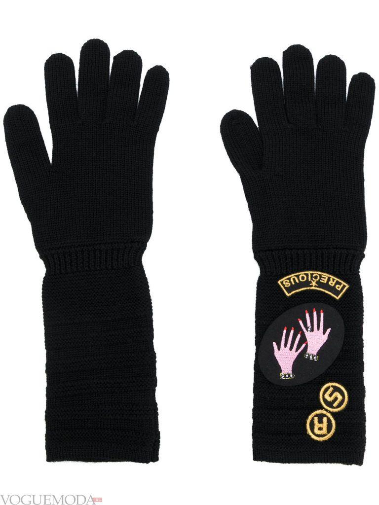 вязаные трикотажные перчатки черные