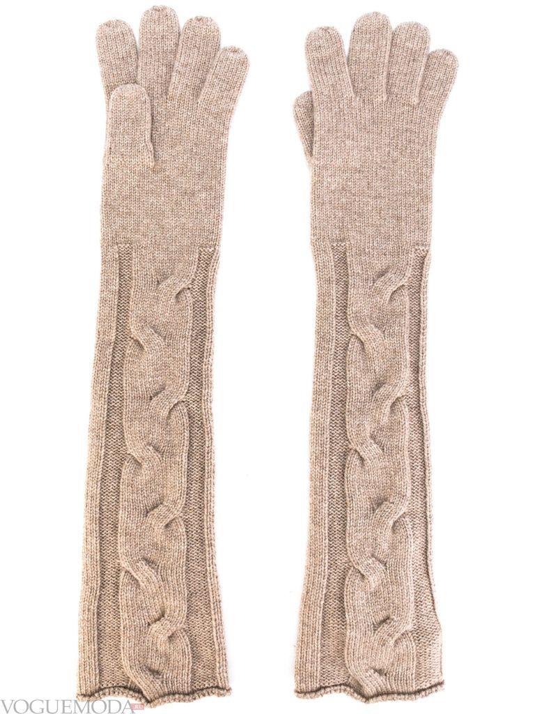 вязаные трикотажные перчатки нюдовые