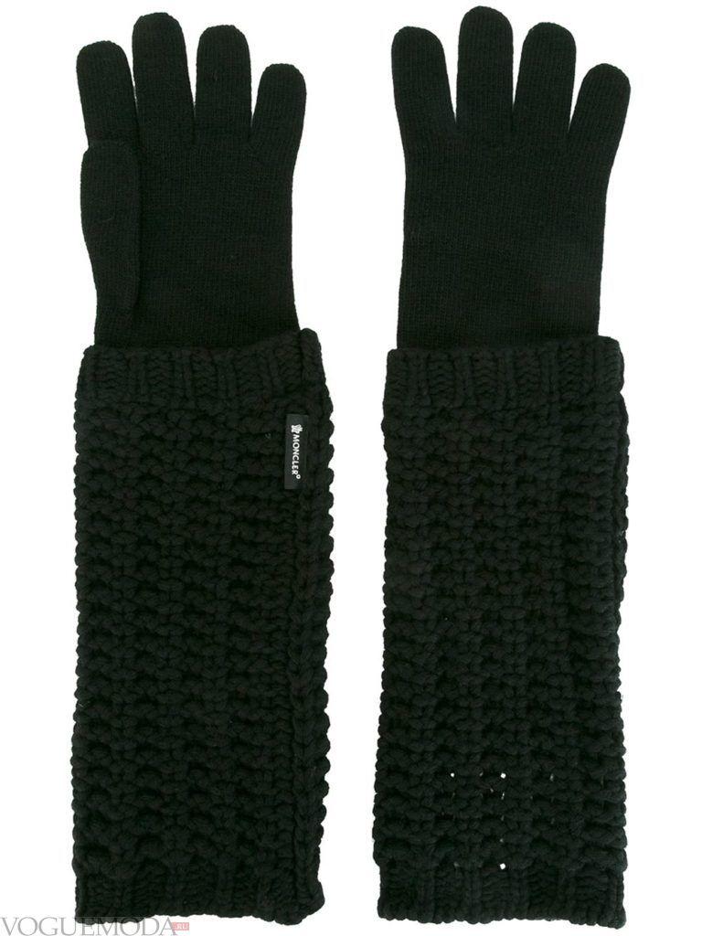 вязаные трикотажные перчатки длинные