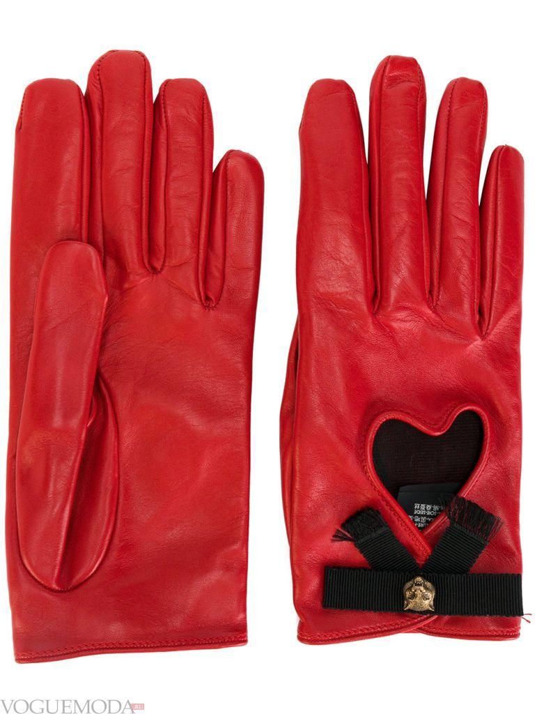 перчатки с натуральной кожи красные