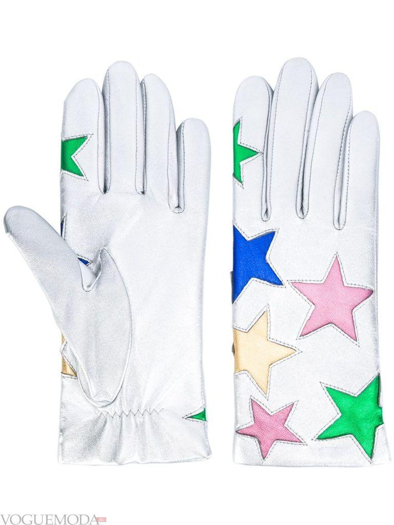 перчатки с натуральной кожи белые