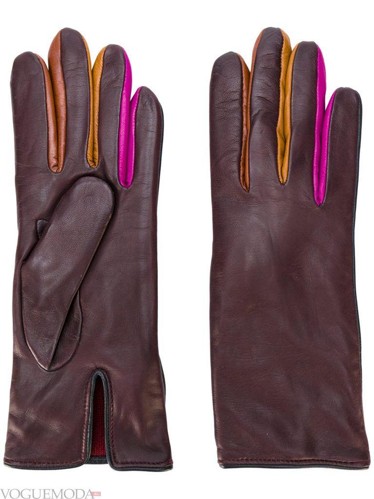 перчатки с натуральной кожи цветные