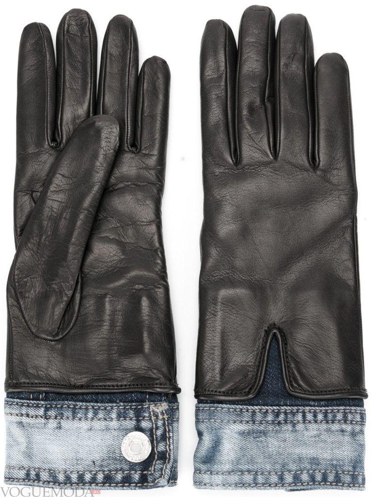 перчатки с натуральной кожи с декором