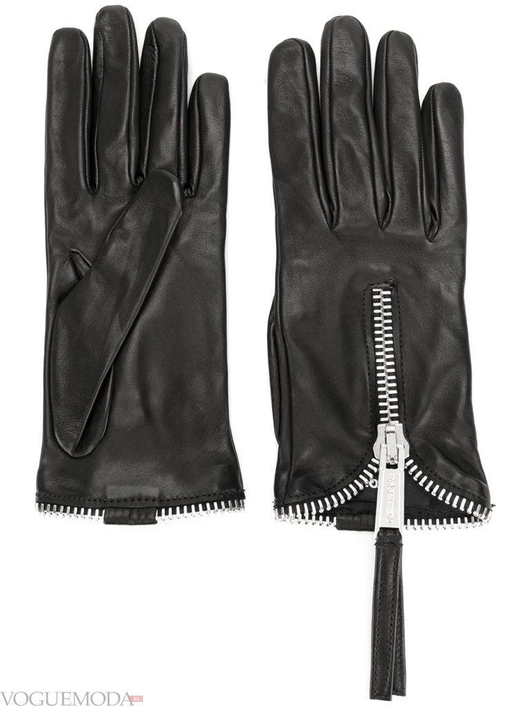 перчатки с натуральной кожи с молнией