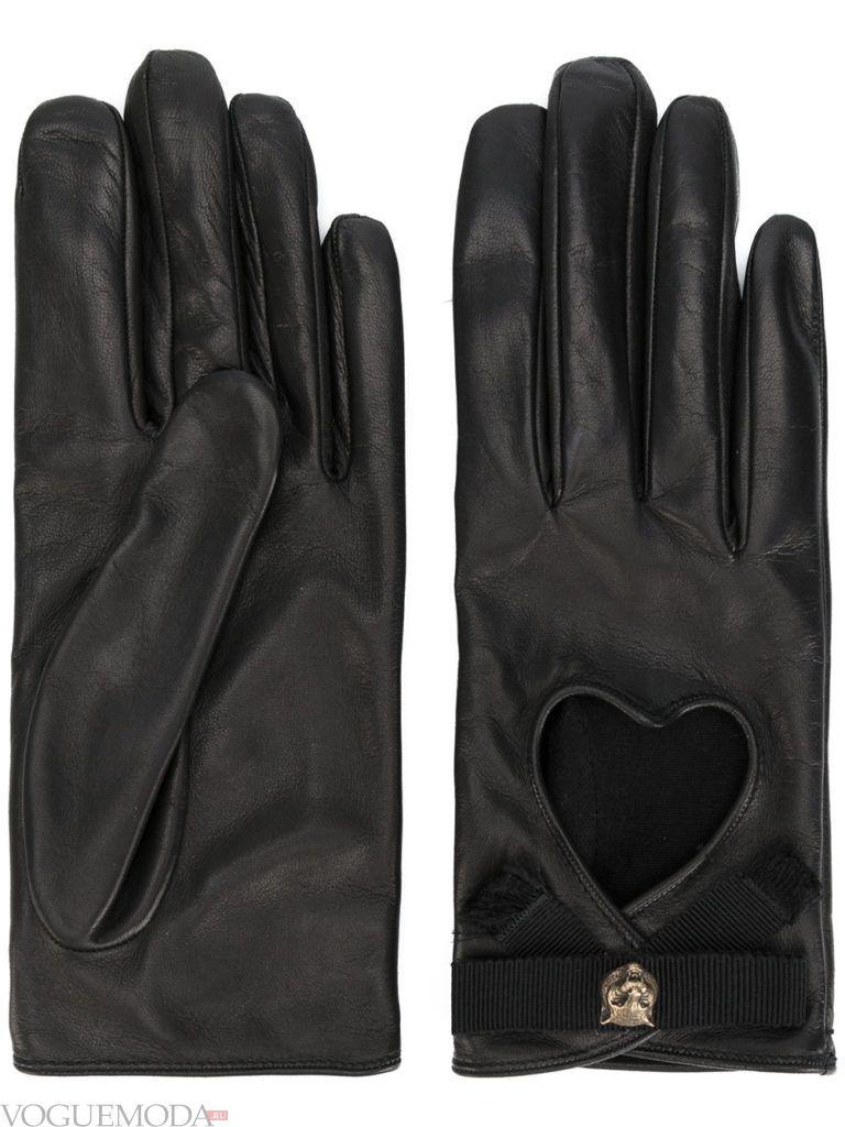 перчатки с натуральной кожи черные