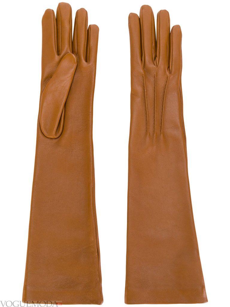 длинные перчатки рыжие