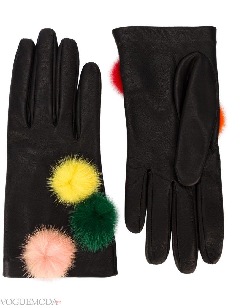 перчатки с натуральной кожи с мехом