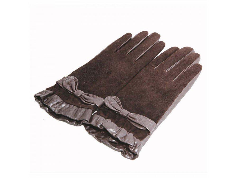 замшевые перчатки с декором