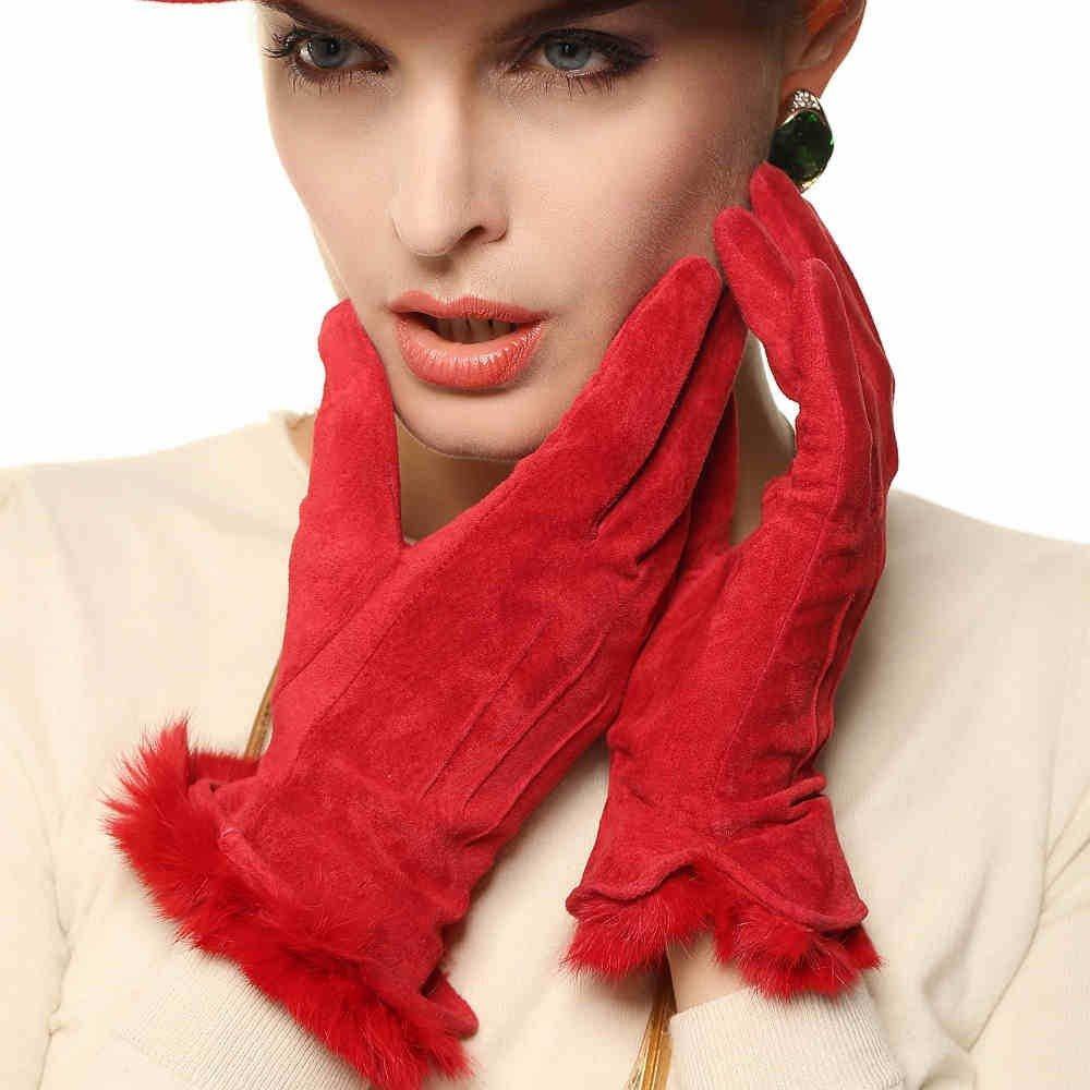 замшевые перчатки красные