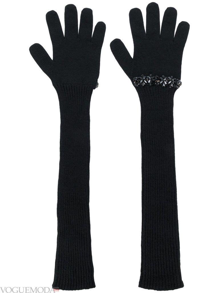 длинные перчатки серые