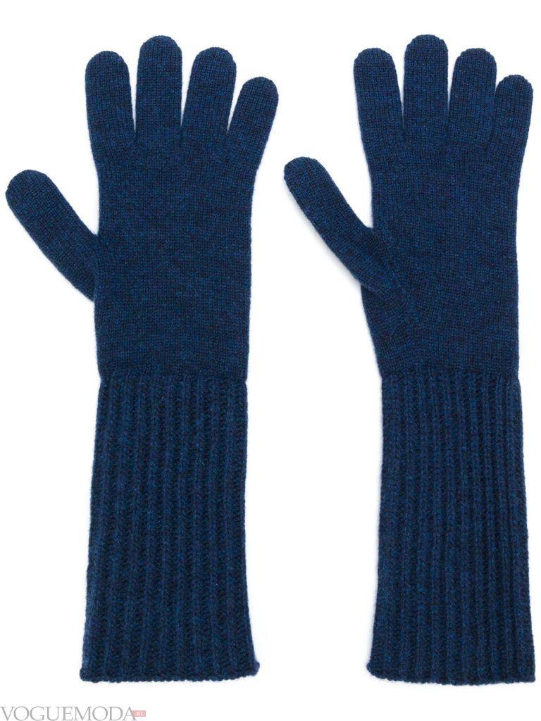 длинные перчатки синие