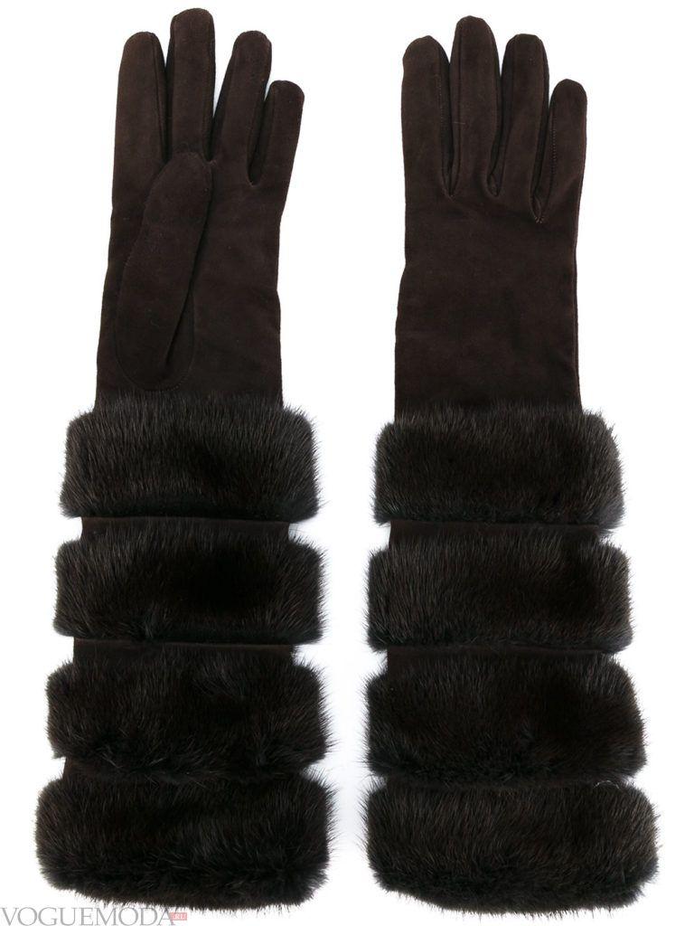 необычные перчатки с мехом
