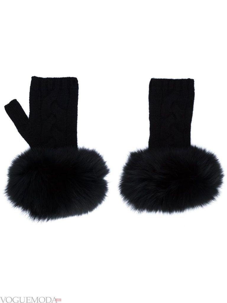 перчатки без пальцев с мехом