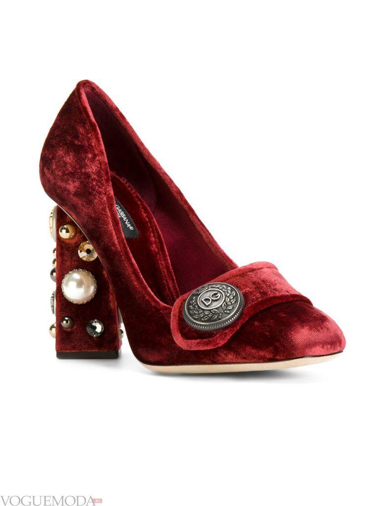 новогодние бархатные туфли бордо