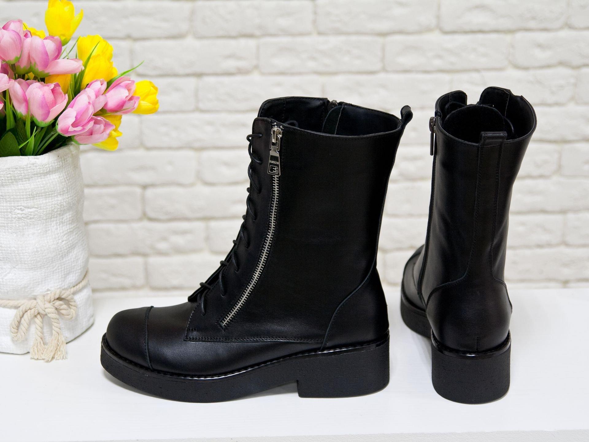 сапоги на шнуровке черные