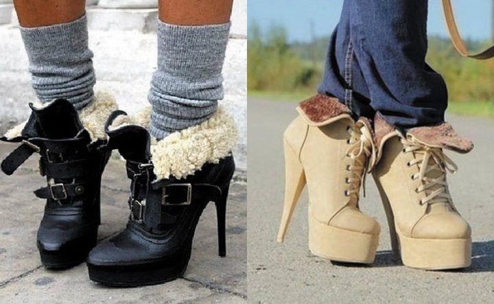 ботинки с мехом  черные и бежевые