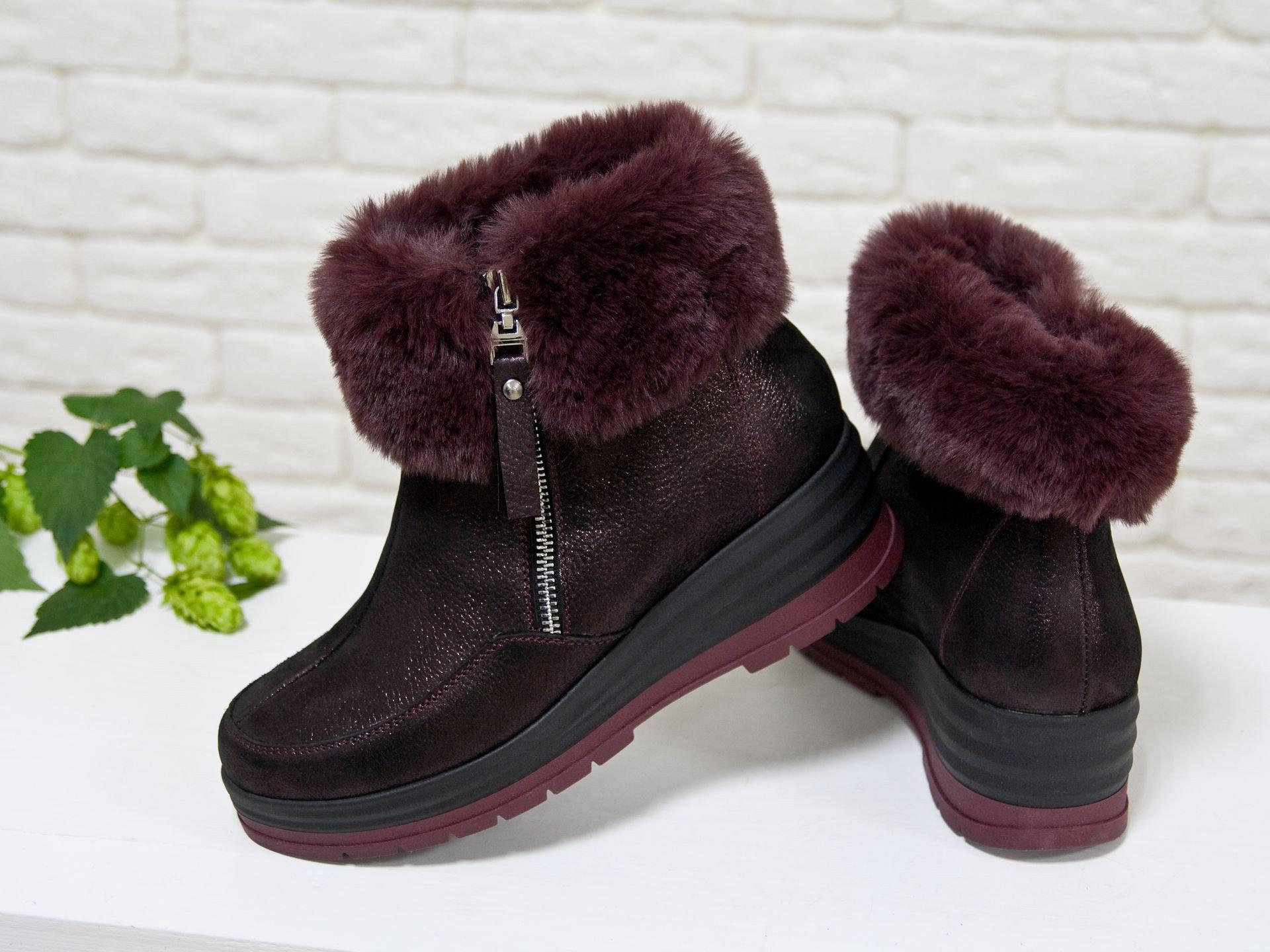ботинки с мехом бордовые