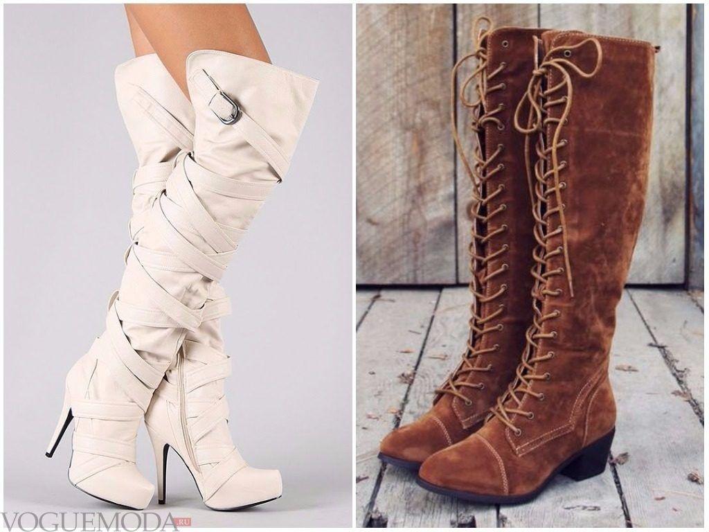 Ботфорты белые и коричневые на шнуровке