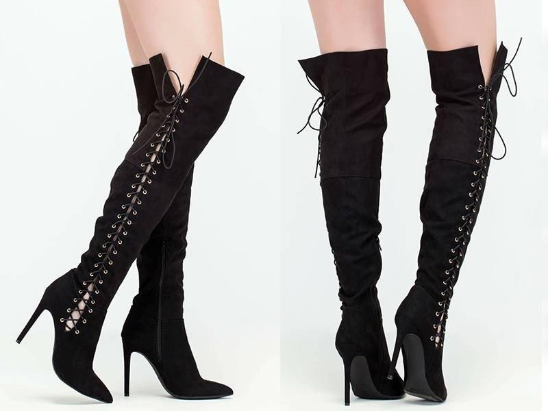 Ботфорты на шнурках черные