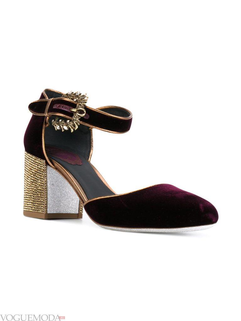 новогодние бархатные туфли черные
