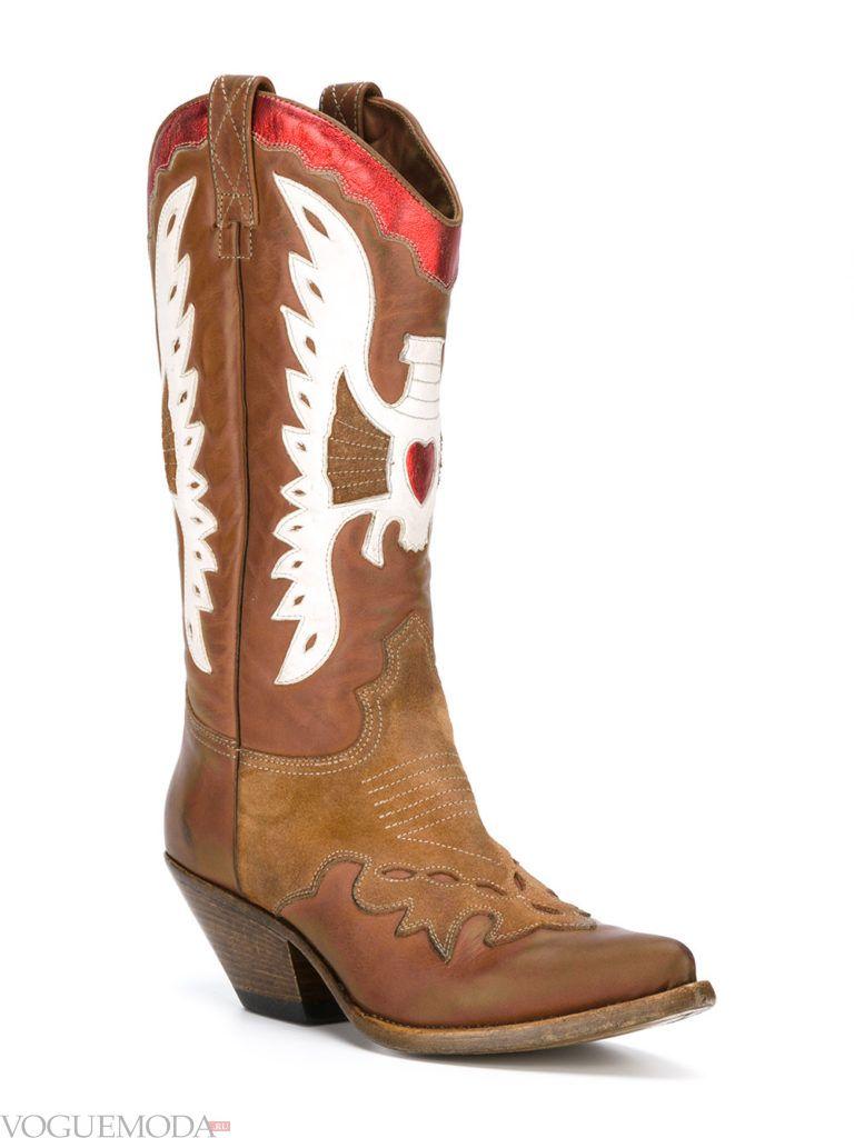 техасские сапоги коричневые