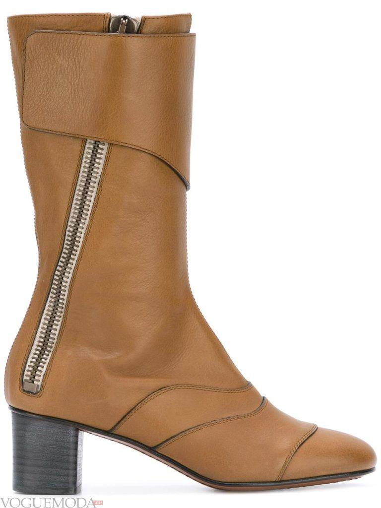 полусапожки на каблуке коричневые