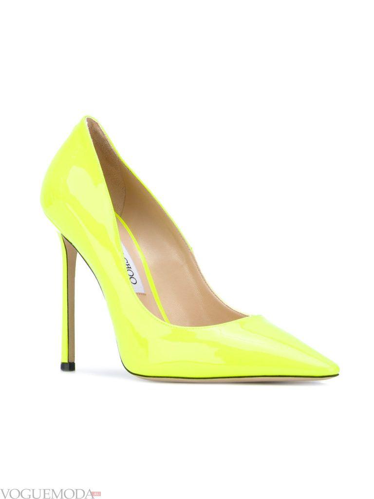 туфли на каблуке желтые