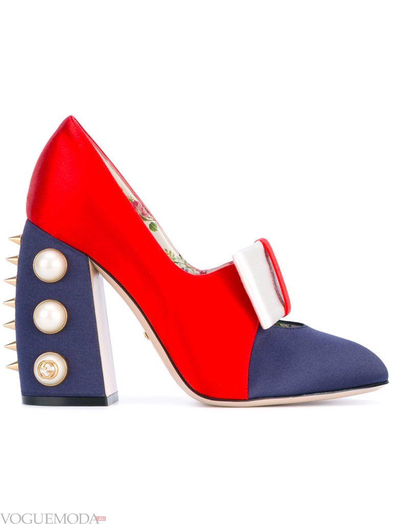 туфли на каблуке двухцветные
