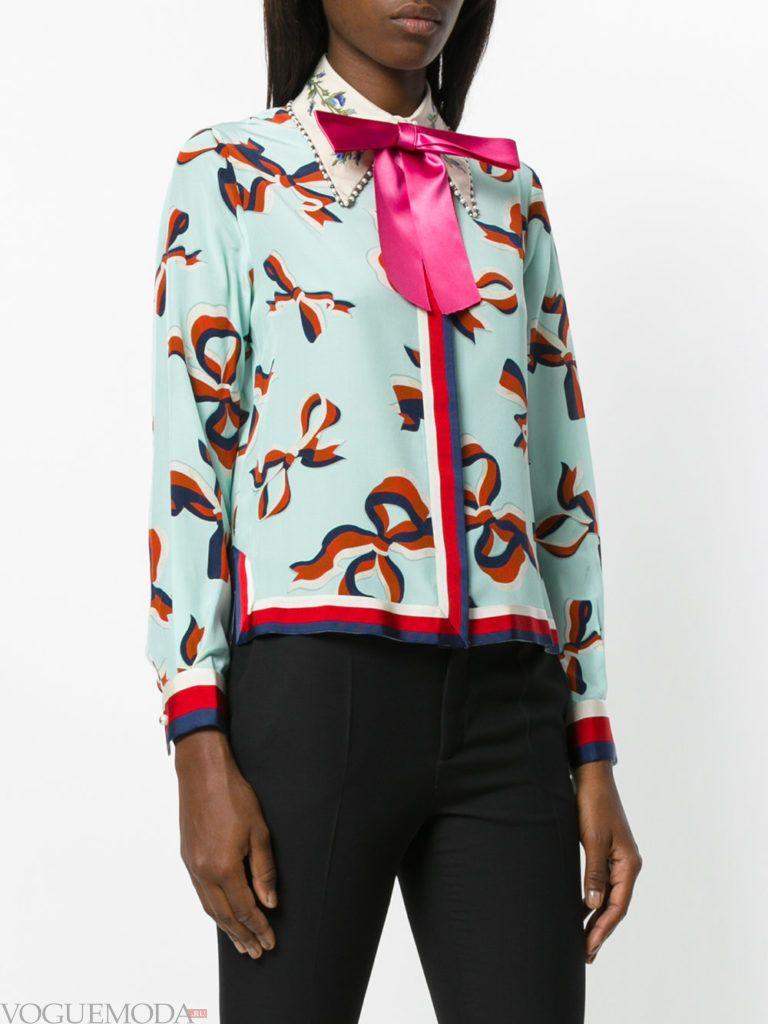 модная блузка с бантом яркая