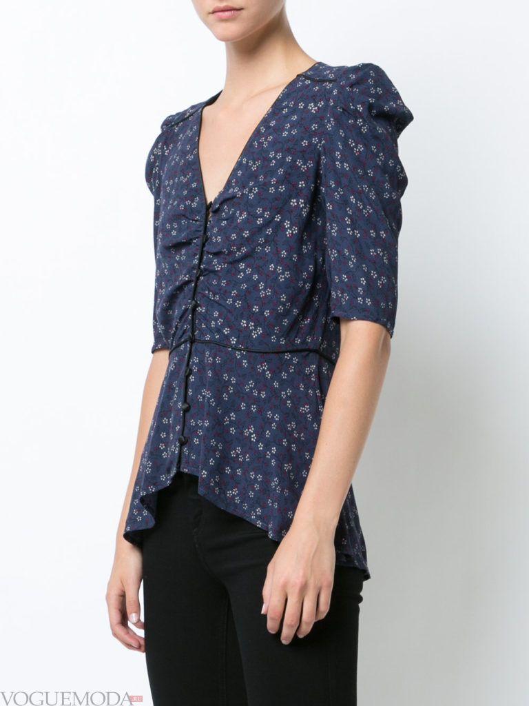 модная блузка с асимметрией синяя
