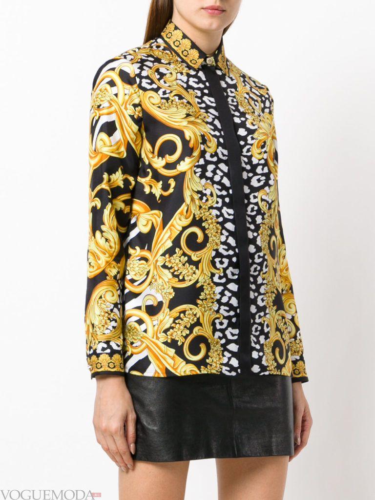 модная блузка-рубашка с принтом