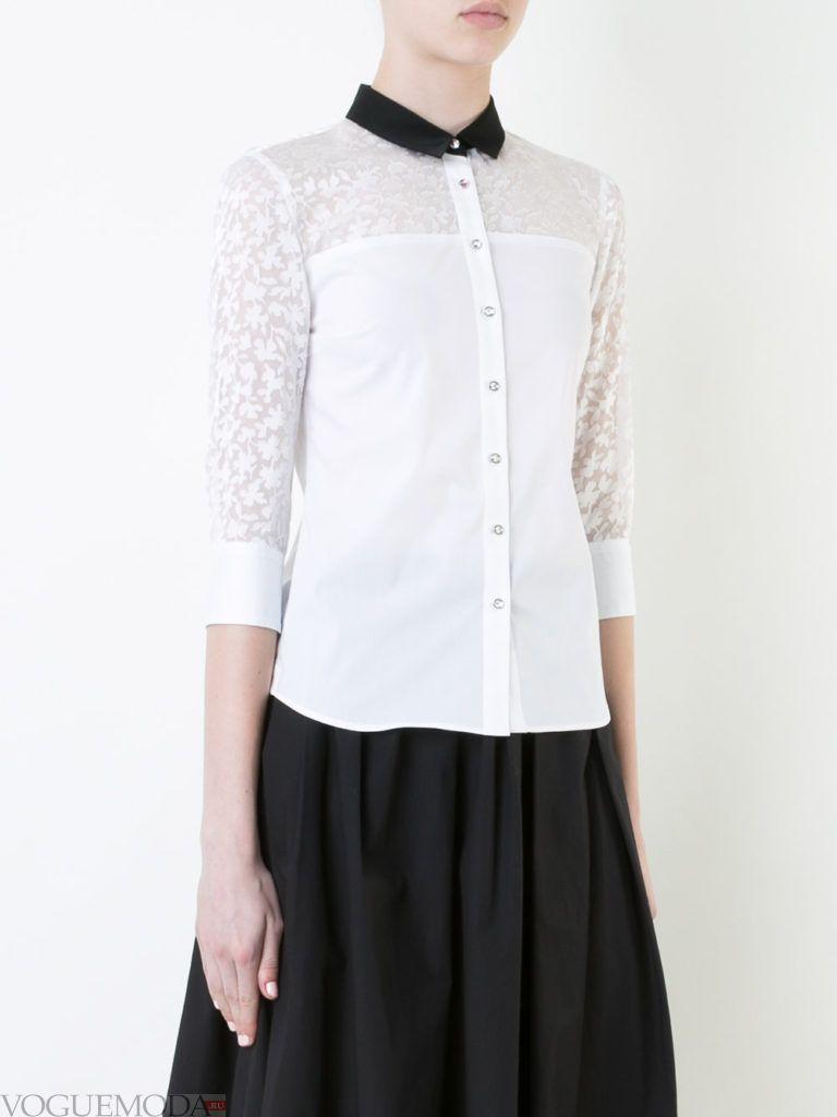 модная блузка-рубашка кружевная