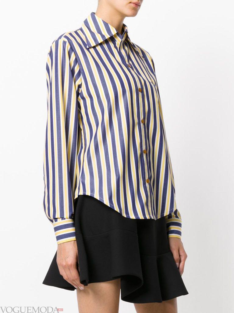 модная блузка-рубашка полосатая