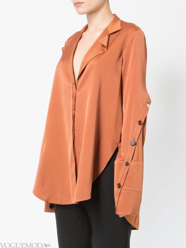 модная блузка-рубашка нюдовая
