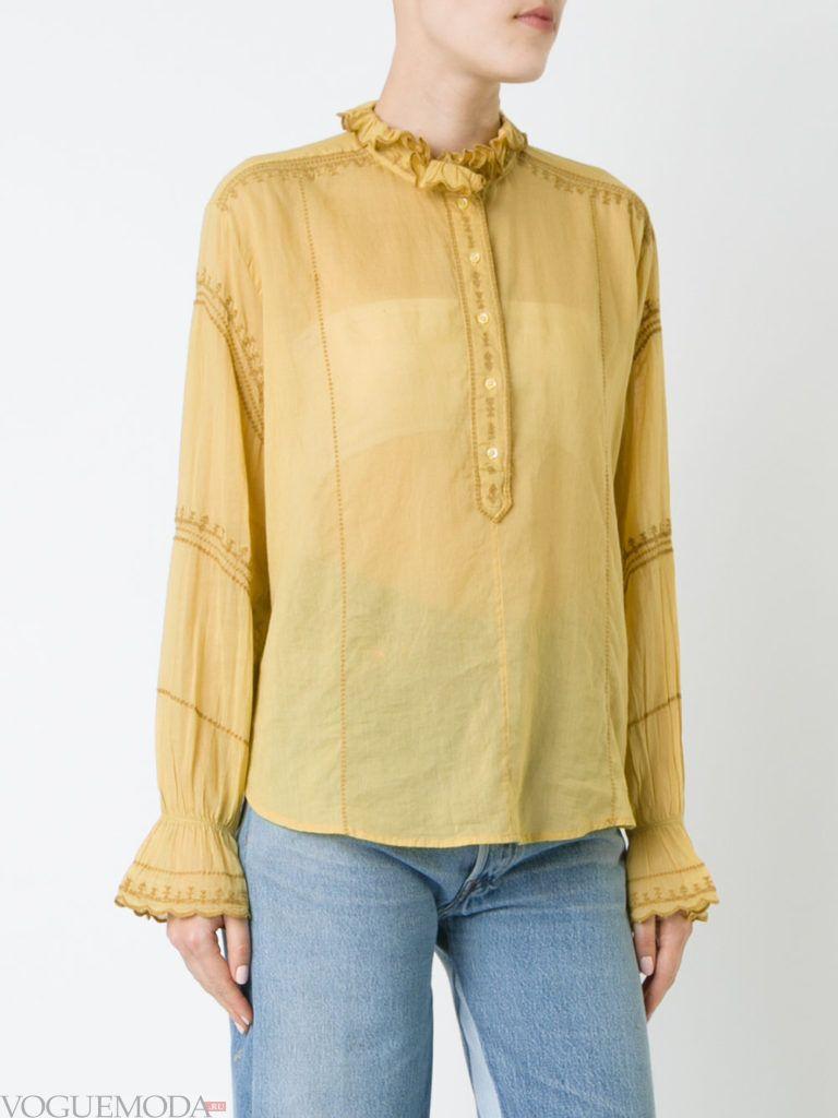 модная прозрачная блузка желтая