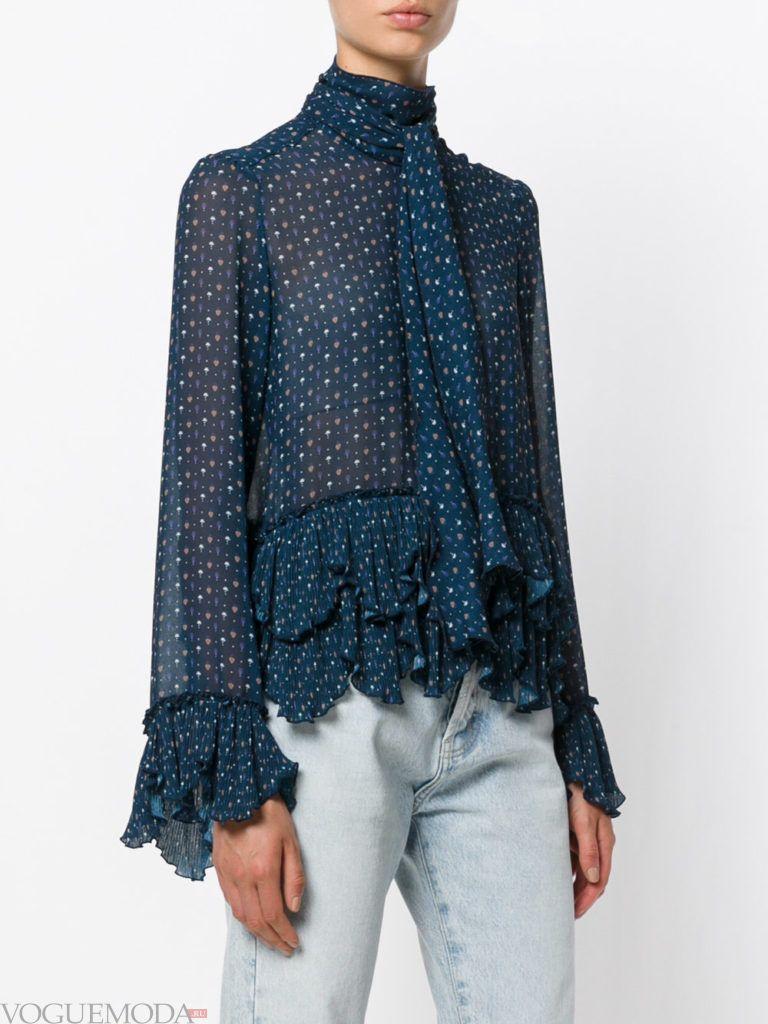 модная прозрачная блузка с принтом