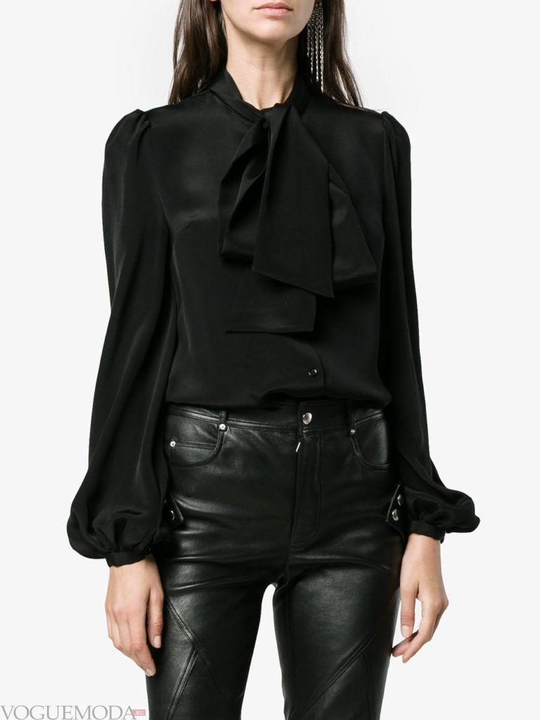 модная блузка с бантом черная
